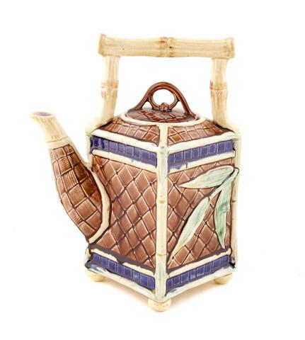 A Continental majolica square teapot