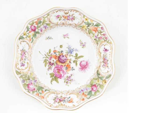 A set of four Dresden porcelain cabinet plates