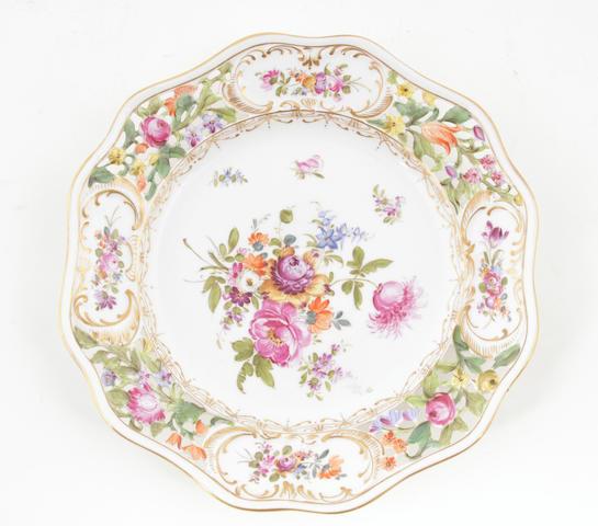 A set of four Dresden porcelain cabinet plates