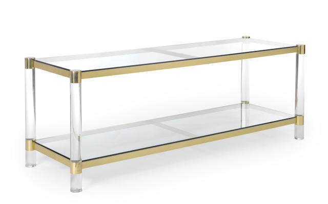 A Karl Springer acrylic, brass and glass table