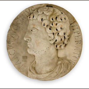 A Neoclassical marble roundel with relief profile of Marcus Antonius Imperator. 17th/18th century