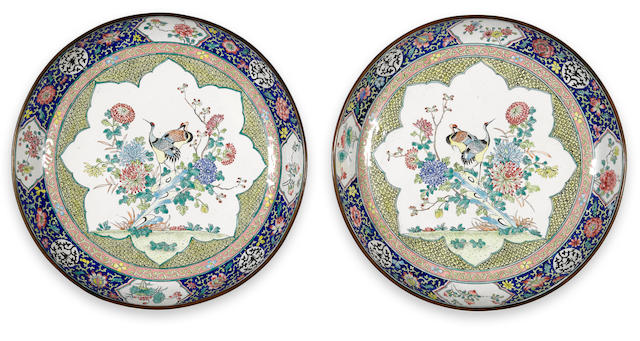 A pair of large Canton enameled metal deep dishes with crane and chrysanthemum decoration Qianlong period diameter 10 ½in