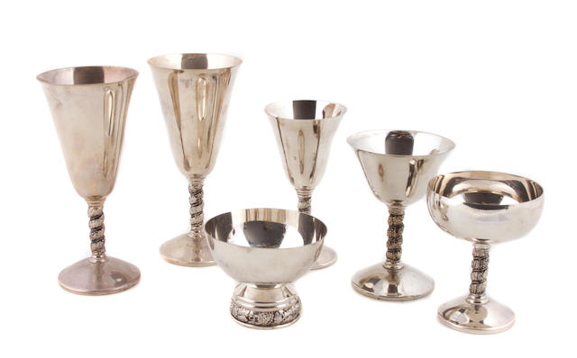 A set of Spanish silver plate stemware J. Perez Ruiz, Madrid, 20th century
