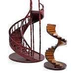 A pair of spiral staircase models<BR /> 20th century 23 x 13-3/4 in. (58.4 x 34.9 cm.) 2