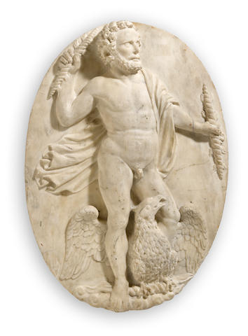 An Italian Apuan marble oval plaque depicting Zeus<BR />late 16th century