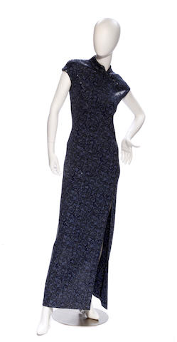 A St. John periwinkle knit sequin gown