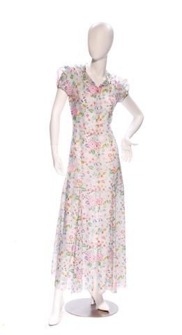 A Chanel long white floral design dress