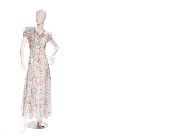 A Chanel long sheer white and multi-color floral design dress