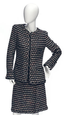 A Chanel boucle black, multi-color and metallic weave jacket and skirt suit