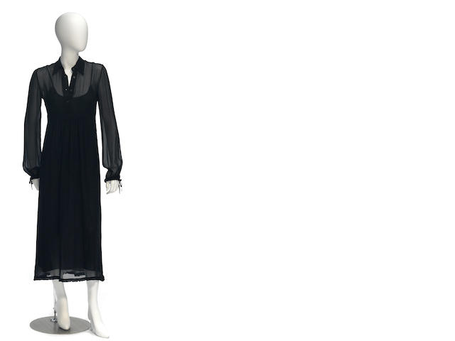 A Miu Miu black silk long sleeve dress