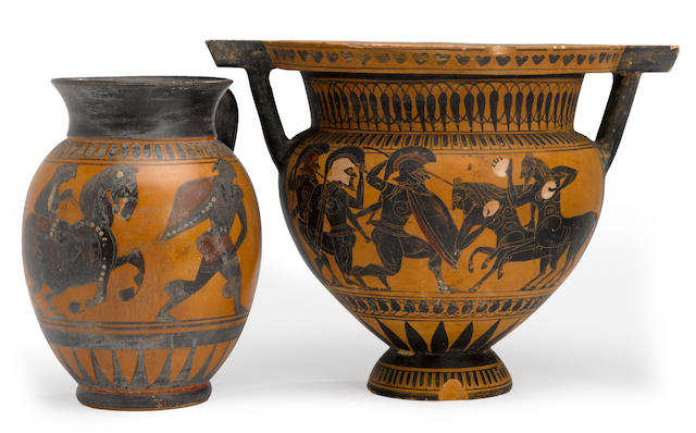A Grand Tour black figure column krater and an olpe 19th century