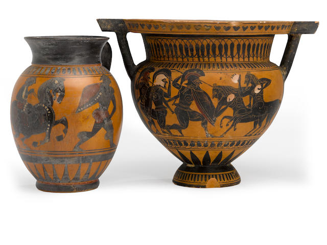A Grand Tour black figure column krater and an olpe<BR />19th century