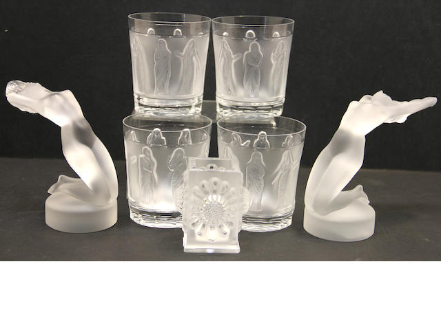 Six pieces of Lalique glass