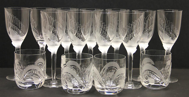 Eleven Lalique glass champagne flutes: Ange 13645
