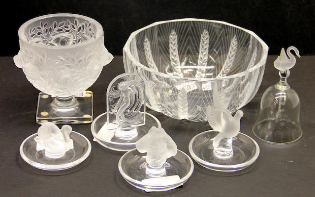 Six pieces of Lalique glass and a glass table bell
