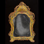 A Venetian Rococo yellow lacquered mirror third quarter 18th century