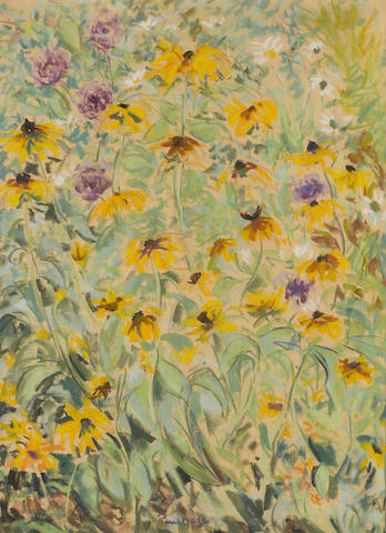 Paul Maze Black Eyed Susans pastel on paper 30 x 22in