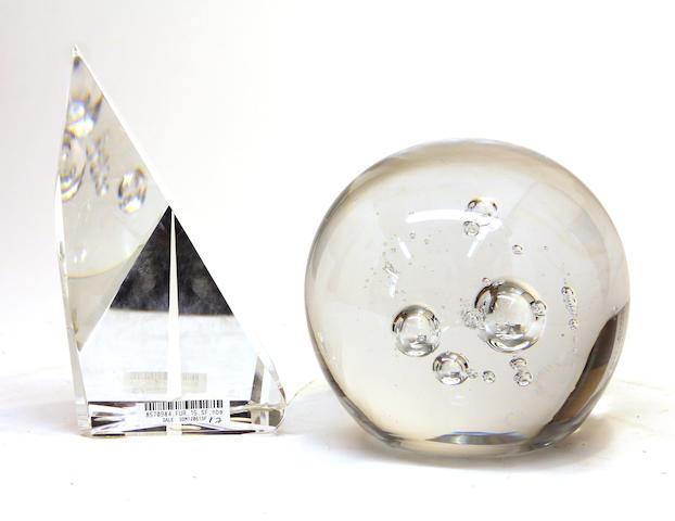 A Schneider bubble glass sphere and a contemporary glass prismatic sculpture