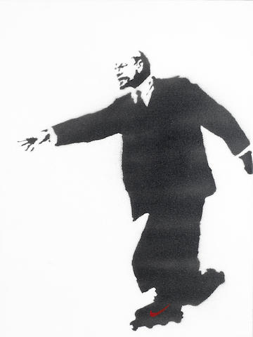 Banksy (British, born 1975) Lenin on Rollerblades (Who Put the Revolution on Ice?) 2003  signed Banksy in stencil (to the overlap)and numbered 7/25 (to the rear)  stencil spraypaint on canvas  40.5 by 30.5 cm. 15 15/16 by 12 in.Provenance