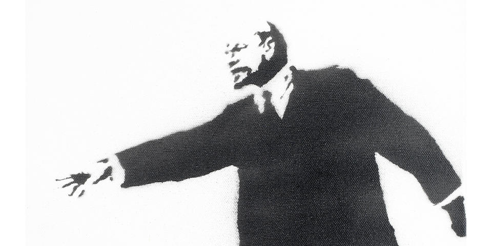 Banksy (British, born 1975) Lenin on Rollerblades (Who Put the Revolution on Ice?) 2003  signed in stencil on the turnover edge; numbered 19/25 on the reverse stencil spray paint on canvas  15 15/16 by 12 in. 40.5 by 30.5 cm.