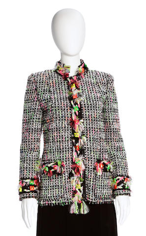 A Marc Jacobs black and multi-color boucle jacket