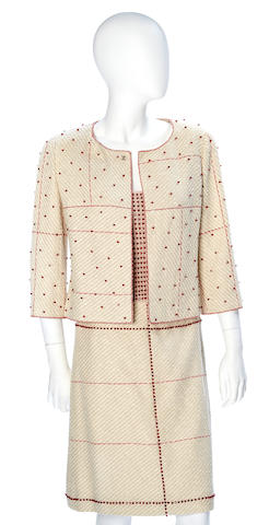 A Chanel red beaded cream wool and linen jacket