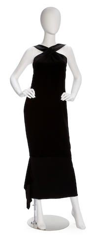 A Chanel long black silk and crepe dress