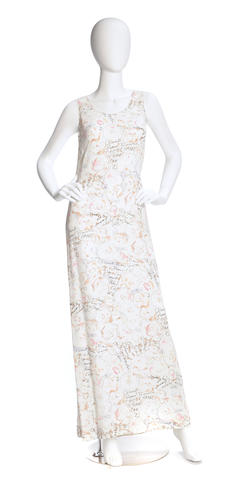 A Chanel ivory and multi-color floral design dress