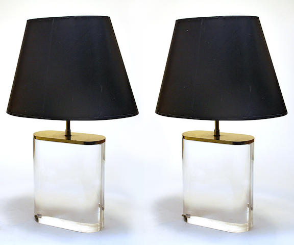 A pair of Karl Springer acrylic and brass table lamps