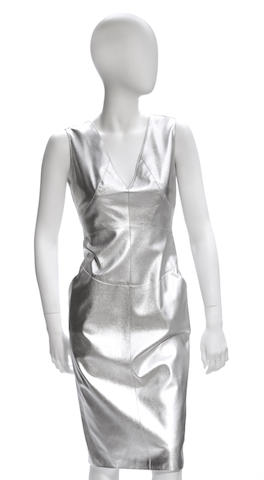 A Chanel silver leather dress