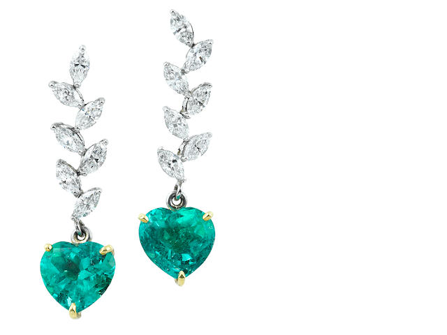 A pair of emerald and diamond heart pendant earrings