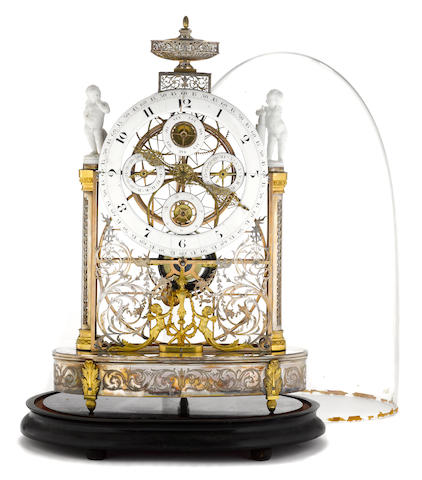 A French gilt bronze clock, attributed to Antide Janvier 18th century
