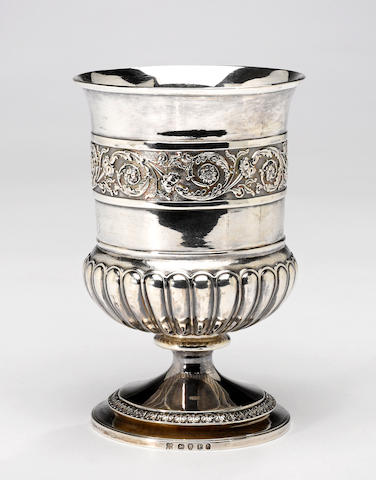 "A George III silver goblet with medical presentation Emes & Barnard, London, 1810 <BR />Monogrammed, with presentation inscription on underside: ""Donata in Agnitione grata Artis profissionalis superioris et Judicu medicinalis tui a (erasure)"""
