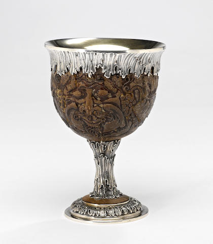 "An Italian sterling and composition ""coconut"" goblet Gianmaria Buccellati, Milan"