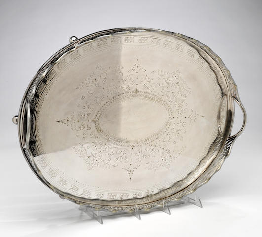 An electroplated footed oval galleried tray with engraved face C. F. & Co. <BR /># 168