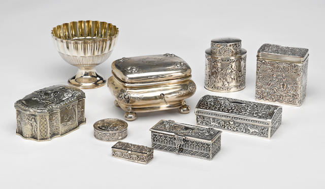 A group of silver and plated table boxes  (9)