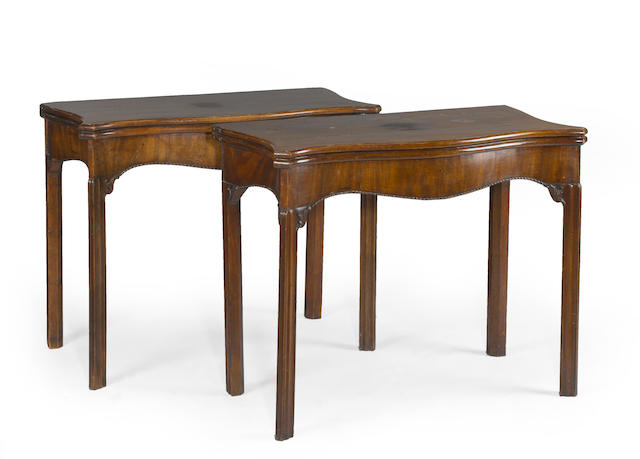 A pair of George III mahogany games tables<BR />fourth quarter 18th century