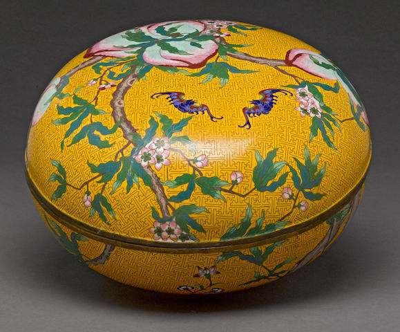 A large cloisonné enameled metal covered box 20th century
