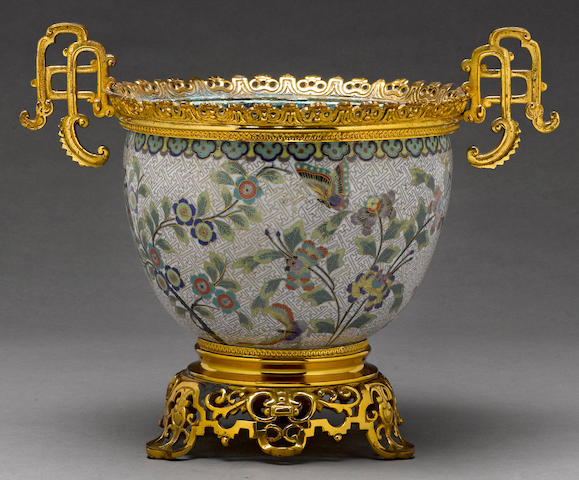A Chinese cloisonné enameled metal jardinière with gilt-metal mounts 20th century