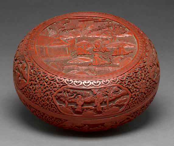 A Chinese carved cinnabar lacquer circular lidded box