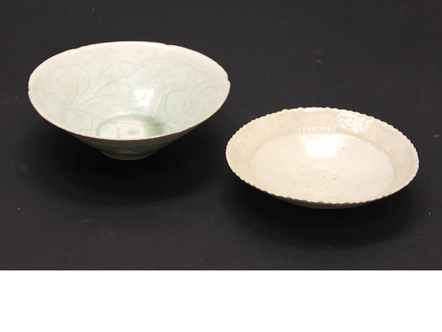 A qingbai bowl and dish