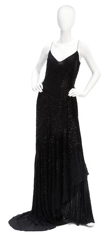An Amanda Wakeley long black beaded gown