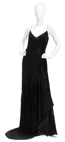 An Amanda Wakeley long black beaded gown