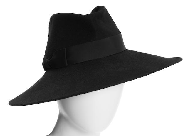 A Donna Karan black felt hat