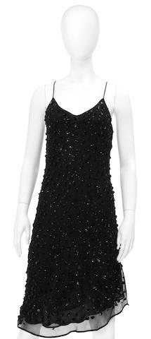 A La Perla black beaded and sequined slip