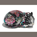 A Judith Leiber black and multicolored crystal floral patterned sleeping cat minaudière