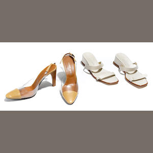 A pair of Giorgio Armani tan leather and clear plastic sling back heels