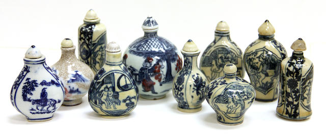A group of ten blue and white porcelain snuff bottles