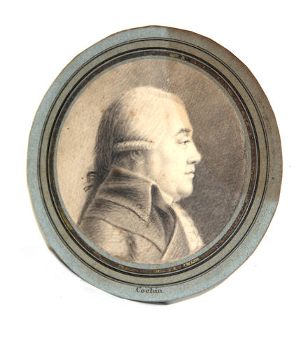 Attributed to Charles Nicolas Cochin  (the Younger) (French, 1715-1790) A portrait of a gentleman in profile diameter: 4 1/8in unframed