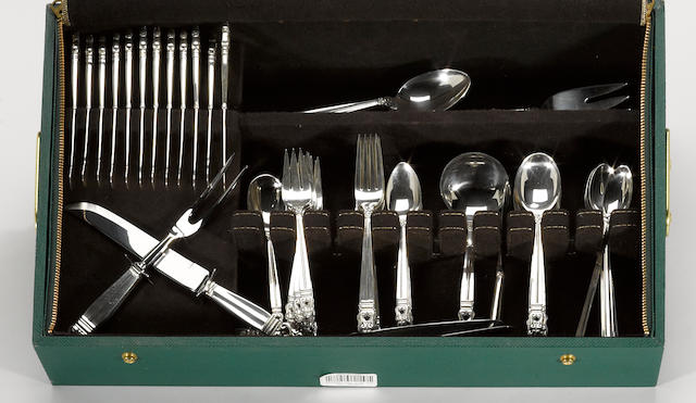 A sterling flatware set, with case International Silver Co., Meriden, CT <BR />Royal Danish  (89)